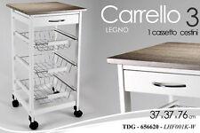 CARRELLO DA CUCINA IN LEGNO BIANCO 3 CESTINI 1 CASSETTO H76X37X37 CM TDG-656620