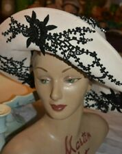 jack mcconnell off white wool black lace applique rhinestone hat few nips