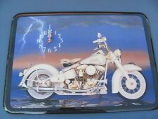 Vintage White Harley Davidson Wood Lacquered Wall Art Clock Brand New