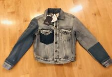 Levis Made Crafted Women's  Selvedge Patchwork Denim Jean Trucker Jacket Size 1