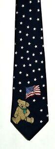 Men's New Neck Tie, Classic Dark Blue Teddy Bear Flag Star design by Stringbeans