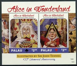 Palau Stamps 2014 MNH Alice in Wonderland Sir John Tenniel 100th Mem 2v S/S I
