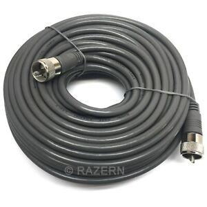 Steren 75 ft Gray RG8X Mini-8 Coax Coaxial PL259 UHF Ham CB Radio Antenna Cable