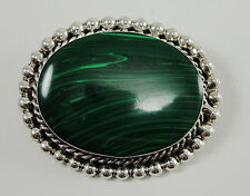 Sterling Silver Malachite Pendant Pin Brooch Handmade Oval Cabochon Smooth Bezel