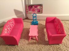 Barbie Furniture Glam Livingroom. Hot Pink Sofas Tv Table