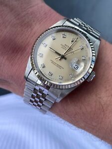 1991 Rolex Datejust 36mm 16234 Factory Rolex Original Diamond Dial