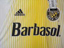 NWT adidas Columbus Crew 2016 White Home Jersey Yellow Stripes Climacool, Size S