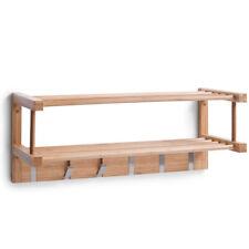 Wandgarderobe Bambus Holz Garderobe Ablage Regal Hakenleiste Haken Kleiderhaken