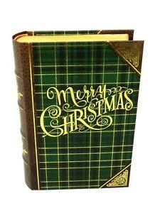 Punch Studio Gold Foil Nesting Book Box Green Christmas Plaid Small 61680