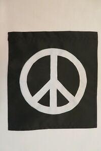 "Peace Sign Symbol, Black & White, decorative Applique Garden flag 11.75"" x 12.5"""