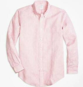 Brooks Brothers Regent Fit Pink/White Linen Sport Shirt, NWT - Mens M - B McNutt