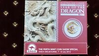 Australia $1 2012 Yellow Colored Dragon 1 oz .999 Silver Coin W/Box and COA