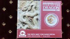Australia $1 2012 Yellow Colored Dragon 1 oz .999 Silver Coin W/Box and COA