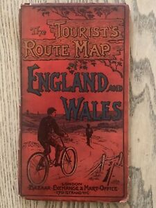 1890 England & Wales Cycle Routes Large Folding Linen Backed Map 78 cm x 63 cm