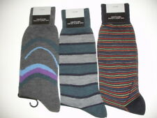 BLOOMINGDALES 3 Pair MENS  STRIPED SOCKS GREY TEAL NAVY NWT ITALY