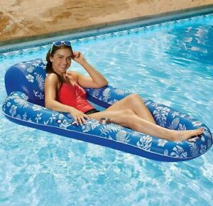 """Aqua Luxury 5ft 8"""" (176.8cm) Inflatable Pool Lounger Float, Holiday Lilo, Blue"""