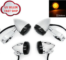 Chrome Front Rear Motorcycle LED Turn Signal Light 41mm Clamp Harley Amber 4PCS
