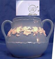 Older Wedgwood Queensware White on Blue Embossed Sugar Bowl Bottom (No Lid)