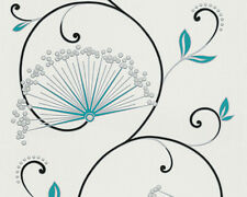 Tapete AS SAN FRANCISCO 96117-1 Blumen Fächer Weiß Schwarz Türkis Silber Glitzer