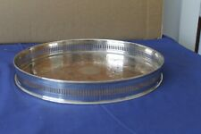 More details for vintage silver plate on copper decorative circular drinks tray