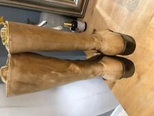 Ladies Stunning Nine West Natural Tan Long Leather Boots - Size 8 - With Box
