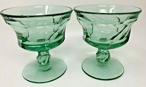 2 Jamestown Green Fostoria Elegant Glass Swirl 2719 Stem Champagne Tall Sherbet
