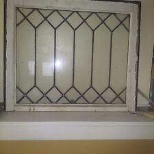 Antique Black beveled lead glass window pane  in original wood frame. 2 left