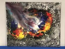 Abstracte hedendaagse kunst schilderij Tafel gemaakt in gemengde techniek.