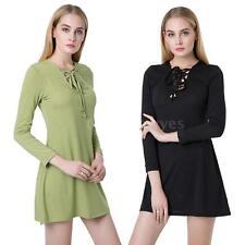 V-Neck Long Sleeve Shirt Dresses for Women