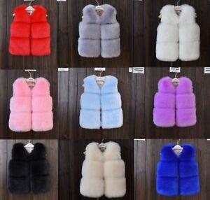 2020 Toddler Kids Girls Boys Faux Fur Vest Gilet Winter Waistcoat Coat warmer