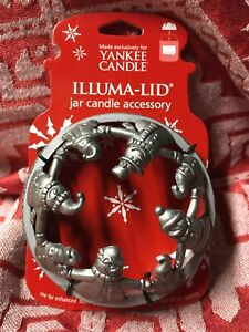 Yankee Candle Illuma-Lid Christmas Silver Snowmen Candle Topper New