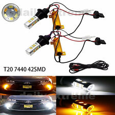 2x T20 W21W 7440 42SMD Switch back LED White DRL & Amber Turn Signals Light Lamp