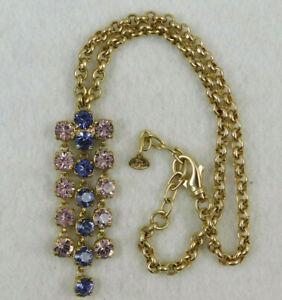 Vintage Designer Signed Italy Gold Tone Amethyst Rhinestone Statement Necklace