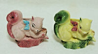 2 Vintage Ceramic Planter Squirrel OPCO Pottery Planters