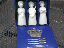 Vintage Set Of 3 Royal Copenhagen Christmas White Porcelain Angels