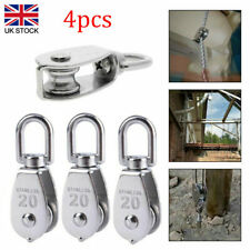 More details for 4× stainless steel heavy duty single pulley block wheel swivel lifting rope 20mm