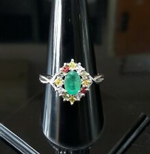 SUPER NATURAL EMERALD TOURMALINE -STERLING 925 SILVER RING