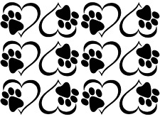 "Pet Cat Dog Heart Paw 1-3/4""  5"" X 7"" Card Black Fused Glass Decals 17CC839"