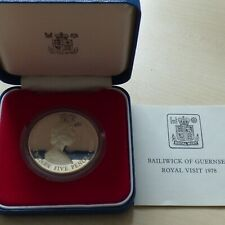 Guernsey 1978 QE II Silver Proof 25 Pence Crown Coin Royal Visit Boxed with COA
