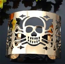 Gold Tone Skull Cuff Bangle Statement Gothic Punk Bracelet UK