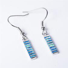 Women blue Fire Opal Inlay Silver Jewelry Engagement Hook Dangle Drop Earrings