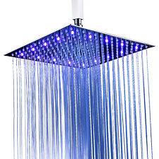 Brushed Nickel 16'' Shower Head Top Rainfall Led Rotate Shower Faucet Ultra Thin