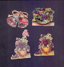 4 Nice Vintage,Scraps Largest 95 x 70 mm Floral   (SB 18)