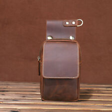 Leather Man Bag Cowhide Fanny Waist Pack Bum Belt Bags Mobile Phone Pouch Brown
