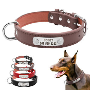 Large Dog Collar Durable Personalized Leather Padded Pet ID Collars Pet