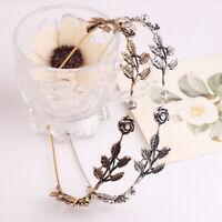 Retro Rose Leaf Shiny Rhinestone Headband Hairband Jewelry Metal Hair Hoop