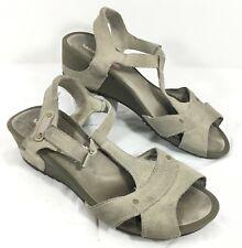 Women's Merrell Revalli Link Gray T-Strap Wedge Sandals Sz 9