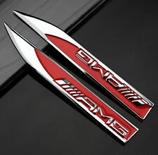 2pcs Auto Car Metal Knife Badge Emblem Decal For Red AMG A B C E S R series