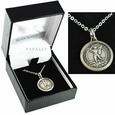 More details for st saint michael medal necklace pendant the archangel gift boxed silver plated