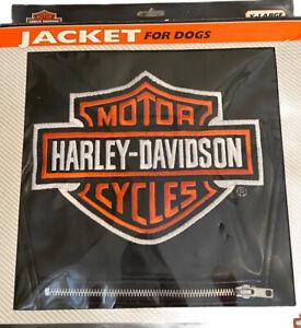 NWT Harley Davidson Biker Dog Jacket XL Black Faux Leather Embroidered Logo